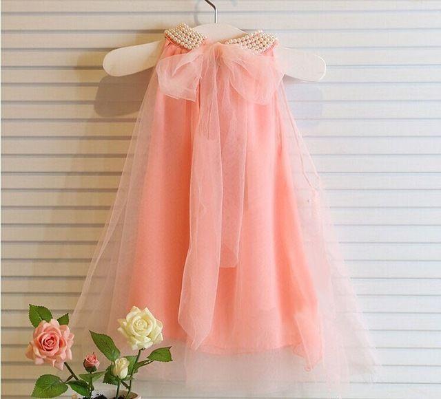 Niñas bebés vestido sin mangas blanco rosa de encaje vestido de perlas estilo de ropa para niños de verano 2015 vestidos de partido de la princesa ropa de los niños