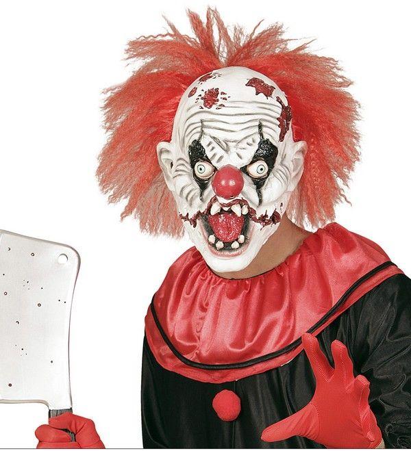 Masque latex clown tueur avec cheveux adulte Halloween : Ce masque terrifiant en…