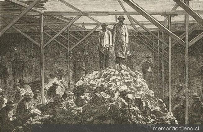 aa Obreros de la mina Buena Esperanza en la cancha de acopio de mineral, yacimiento Tres Puntas, 1872
