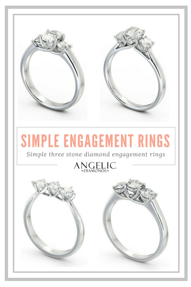 These stunning simple engagement rings are timelessly stylish. Choose your perfect simple three stone diamond engagement ring and customise it with #AngelicDiamonds. #Wedding#IDo#Engaged#Engagement#Diamond#Diamonds#WhiteGold#Gold#Valentine#Valentines#ValentinesDay#Gift#Present#ILoveYou#Beautiful#Jewellery#Jewelry#Ring#EngagementRing#DiamondRing