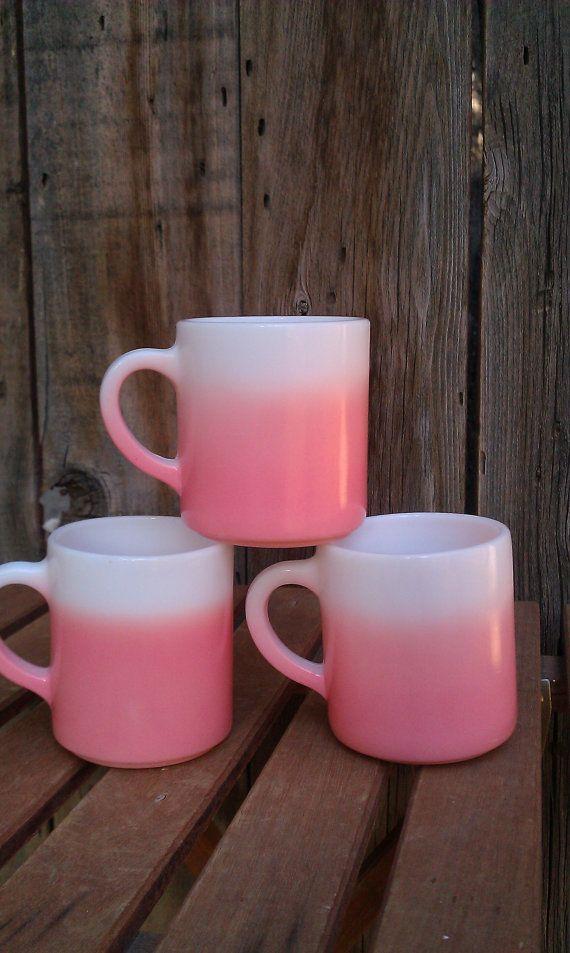 THREE Vintage Ombre Pretty in Pink Mugs by Anchor Hocking 1950s retro pink kitchen, by JessFindsVintage, $24.99