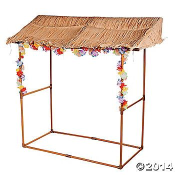 Tabletop Luau Hut - easily make this.  PVC pipe, spray paint , grass skirts, flowers