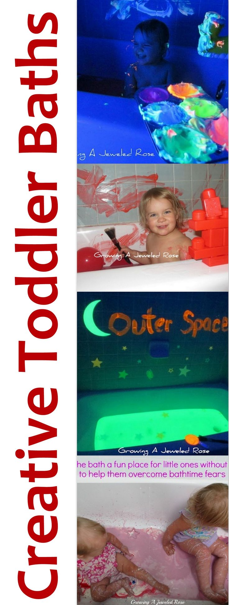 Fun glow in the dark bath ideas.  Use non toxic highlighters and run them under the water as it fills.  With some shaving cream and Colorations fluorescent Activity paint you can draw in the tub.  Add black light and voila, you have an Outer Space themed bathtub.