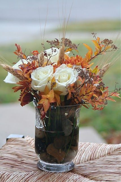 Inexpensive fall decor. Beautiful! Reminds me of my gorgeous friend made wedding bouquet.