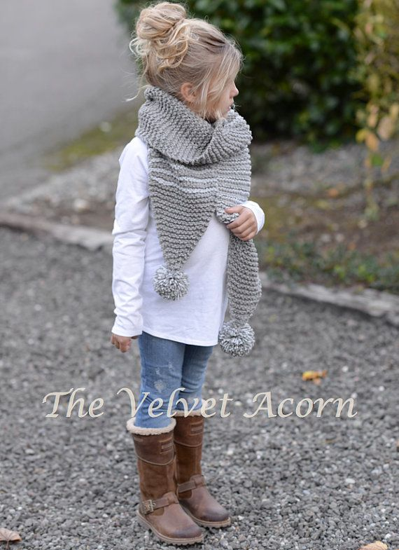 KNITTING PATTERN-The Tussock Scarf Toddler Child por Thevelvetacorn