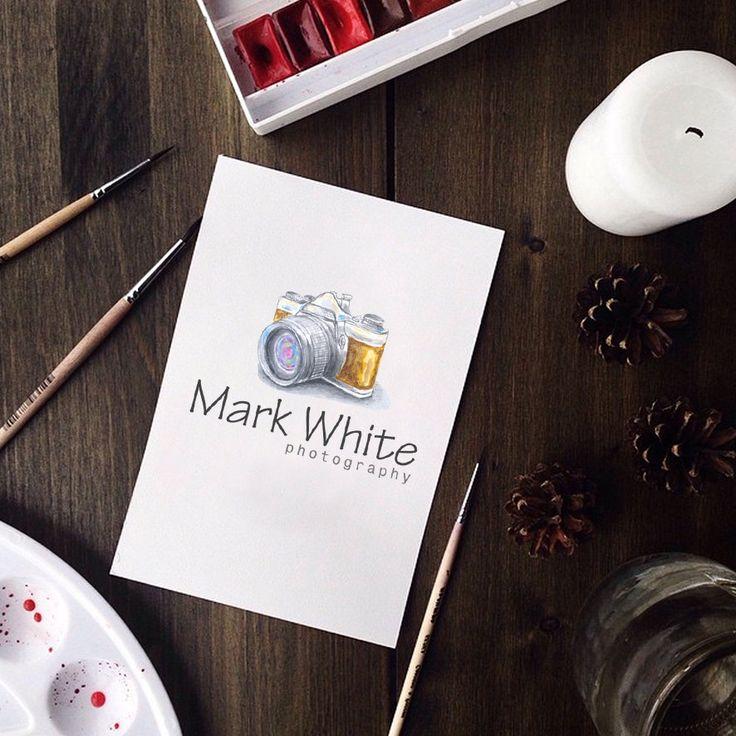 Photography logo - watermark logo camera logo design template. Digital download DIY logo psd logo