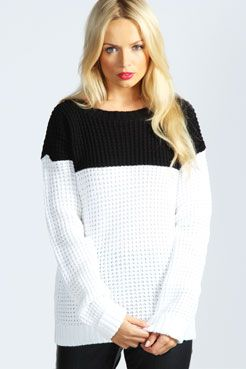 Sofia Colour Block Waffle Knit Jumper at boohoo.com