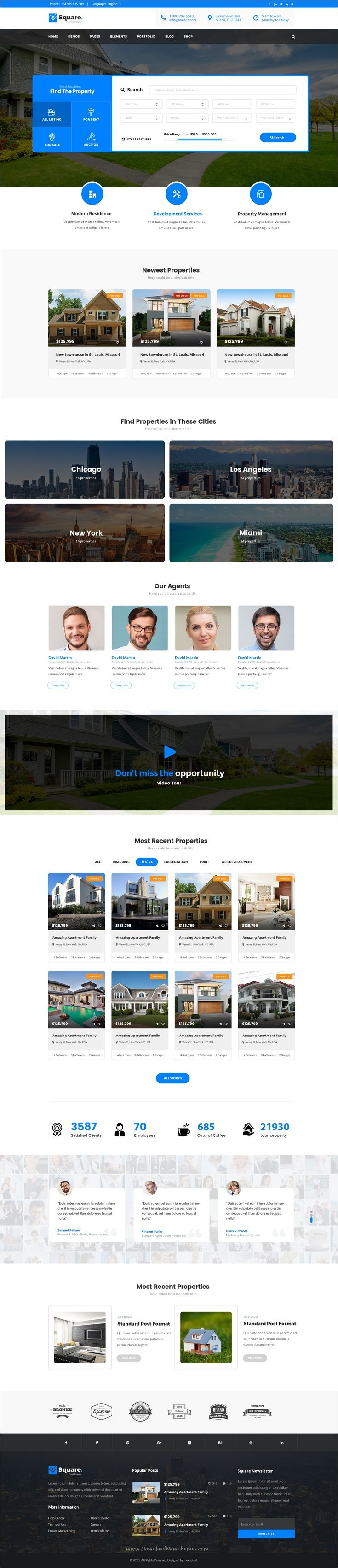 Square is a wonderful premium #PSD template for #property #listing #portal, as well as agent and real estate agency's website download now➩ https://themeforest.net/item/square-professional-real-estate-psd-templates/18725582?ref=Datasata