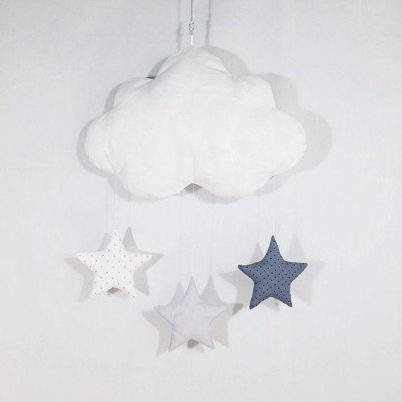 Mobile nuage - 3 étoiles - gris à pois / gris / blanc à pois