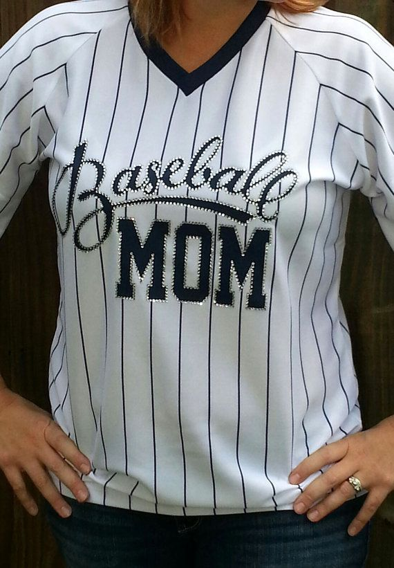 Hey, I found this really awesome Etsy listing at https://www.etsy.com/listing/164551187/pin-striped-baseball-mom-jersey