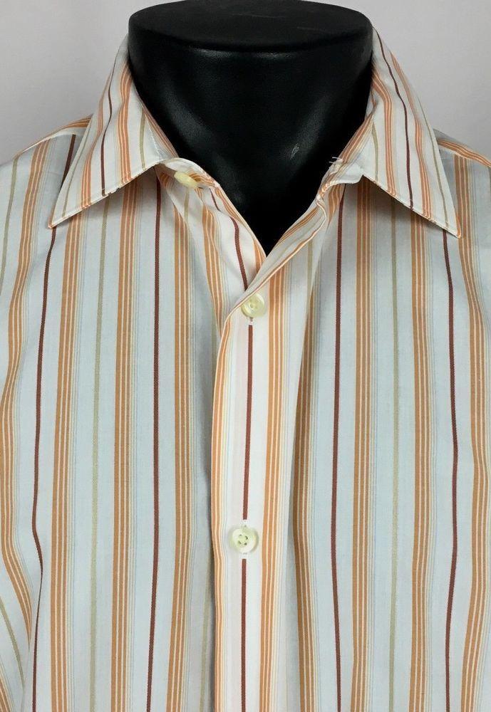9210393d NWT BANANA REPUBLIC Dress Shirt Slim Fit Men's Large Striped Button Woven  Italy #BananaRepublic #ButtonFront