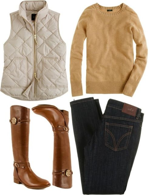 I like this whole look: off-white vest, muted yellow sweater, dark jeans, and light brown boots.