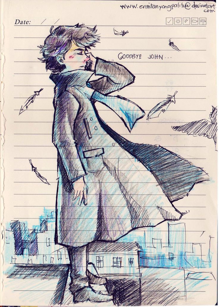 Sherlock Holmes by ermitanyongpalits.deviantart.com on @DeviantArt ----- I love this, I love the way his hair is blowing and the way his tears are placed..