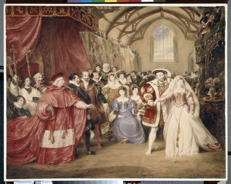 """The Banquet of Henry VIII in York Place"". Creator: James Stephanoff (1789-1874) (artist) Creation Date: dated 1832 Materials: Dimensions: 88.0 x 102.0 cm RCIN 452766 Description: DM 5158: Cardinal Wolsey and courtiers with, on the right, the King meeting Anne Boleyn at the Cardinal's residence, York Place, later Whitehall Palace."