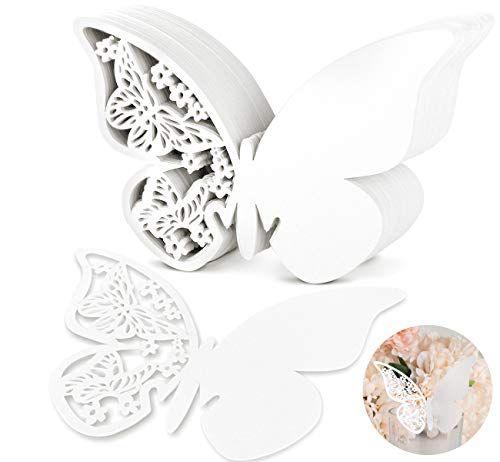 100x Schimmer Weiss Laser Cut Schmetterling Absofine Tischkarten