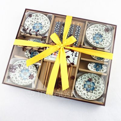 Pretty Sakura Design Ceramic/Bamboo Cutlery set (051026873)