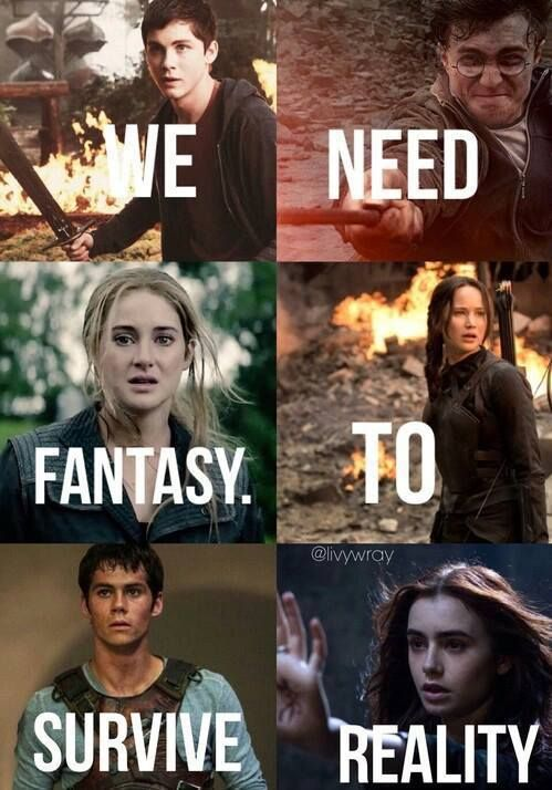 Percy Jackson, harry potter, Divergent, hunger games, maze runner and I'm guessing mortal instruments, I don't know