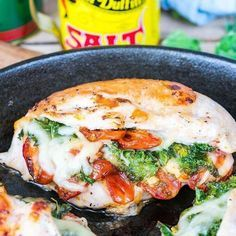"6,325 Likes, 119 Comments - Rachel Maser (@cleanfoodcrush) on Instagram: ""Sun-dried Tomato, Kale + Mozzarella Stuffed Chicken {Try this recipe tonight - instead - of your…"""