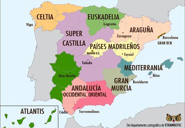 Strambotic El Mapa De Espana Dividido En 12 Zonas De Igual Poblacion Mas O Menos Mapa De Espana Mapas Espana