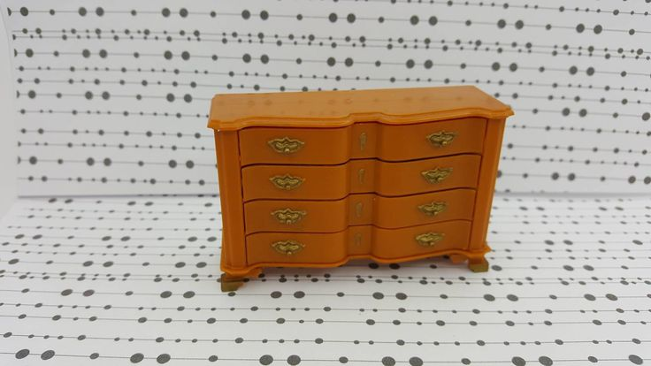 Marx Little Hostess Block Front Chest of Drawers Furniture hard plastic Dresser 8425 Brown #louismarx #etsyseller