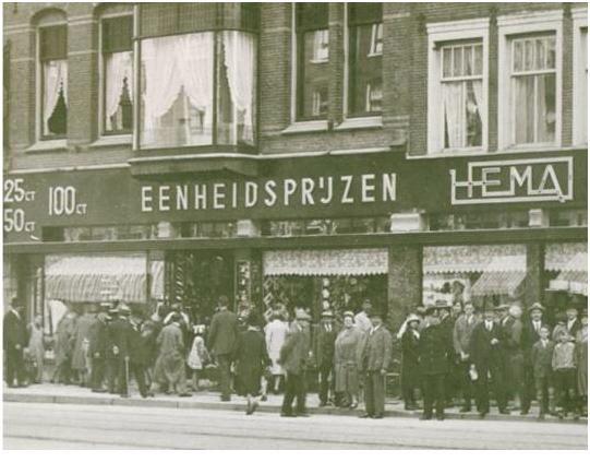November 1926 Opening first HEMA (Hollandse Eenheidsprijzen Magazijn Amsterdam)