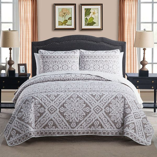 Victoria Classics Fair Isle Quilt Set (54 CAD) ❤ liked on Polyvore featuring home, bed & bath, bedding, quilts, king shams, king size bedding, king size quilt sets, king size shams and twin bed linens