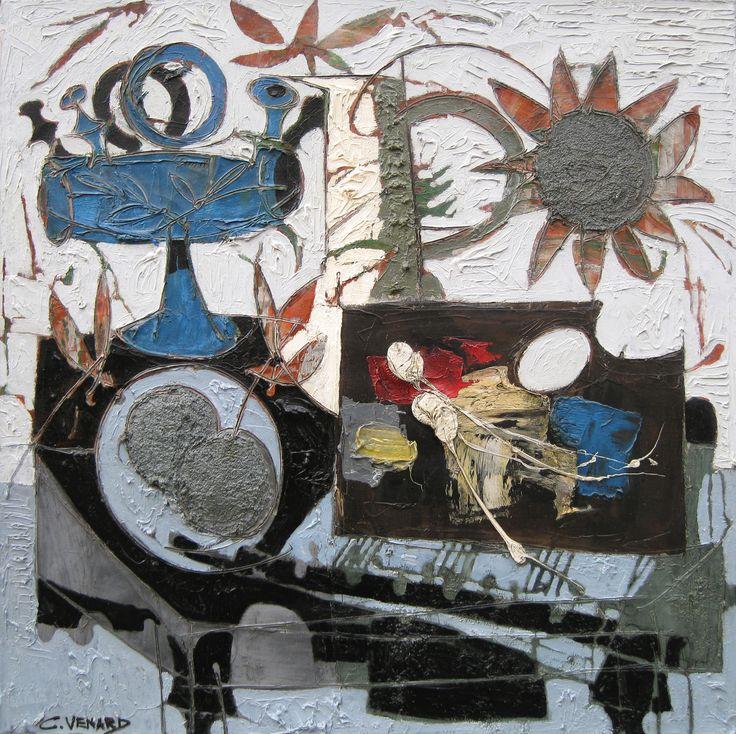 'Le Tournesol' by Claude Venard Oil on Canvas: 75 x 75 cm Signed