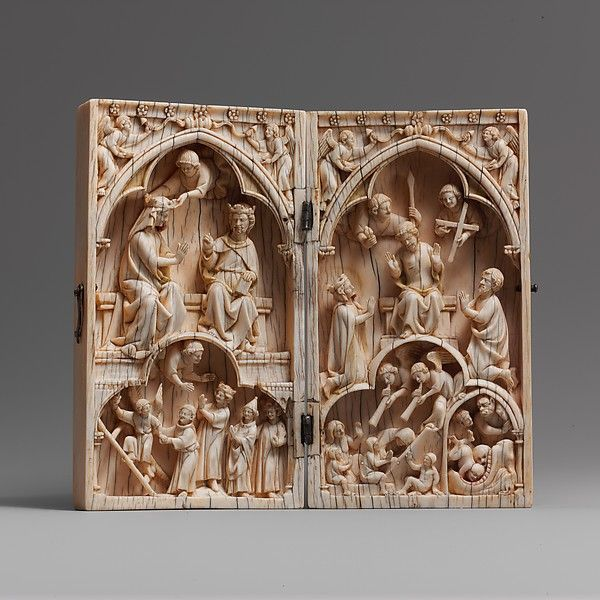Diptych with the Coronation of the Virgin and the Last Judgment - Date: ca. 1260–70 Geography: Made in probably Paris Culture: French Medium: Elephant ivory, with metal mounts