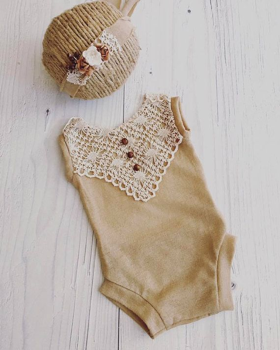 Newborn beige Romper, Lace, baby girl, bodysuit, tieback, jersay, photography prop   Maching headband.   Made to newborn baby. Become and fan on Facebook and stay up to date with all the latest news, steals, deals, and giveaways. https://www.facebook.com/BentiteLittlePrincess/