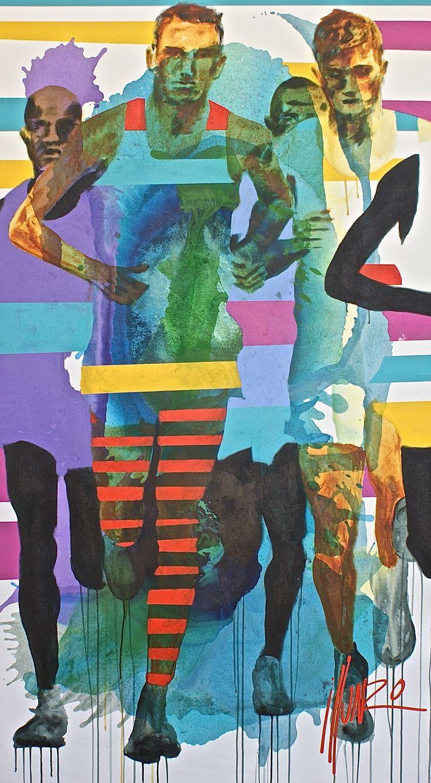 """running"" by Munro 198 x 110 x 5 cm #artbymunro #yearestrong #run #running #vulintaba #art"