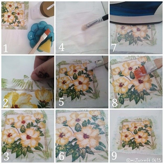 Decoupage tissue to fabric