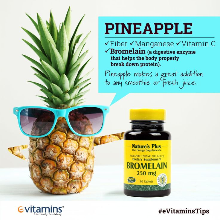 #2. Pineapple -- The nutrients found in pineapple include fiber, minerals like manganese and lots of vitamin C. What makes this fruit unique is the presence of bromelain, a digestive enzyme that helps the body properly break down protein. Pineapple makes a great addition to any smoothie or fresh juice. If you have a juicer, you can throw the pineapple core in there to cut down on waste and sweeten up your drink.