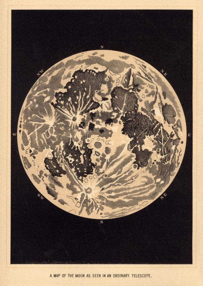 Details about Map of the Moon: (chromolithograph): Circa 1870 Art Print Suitable for Framing