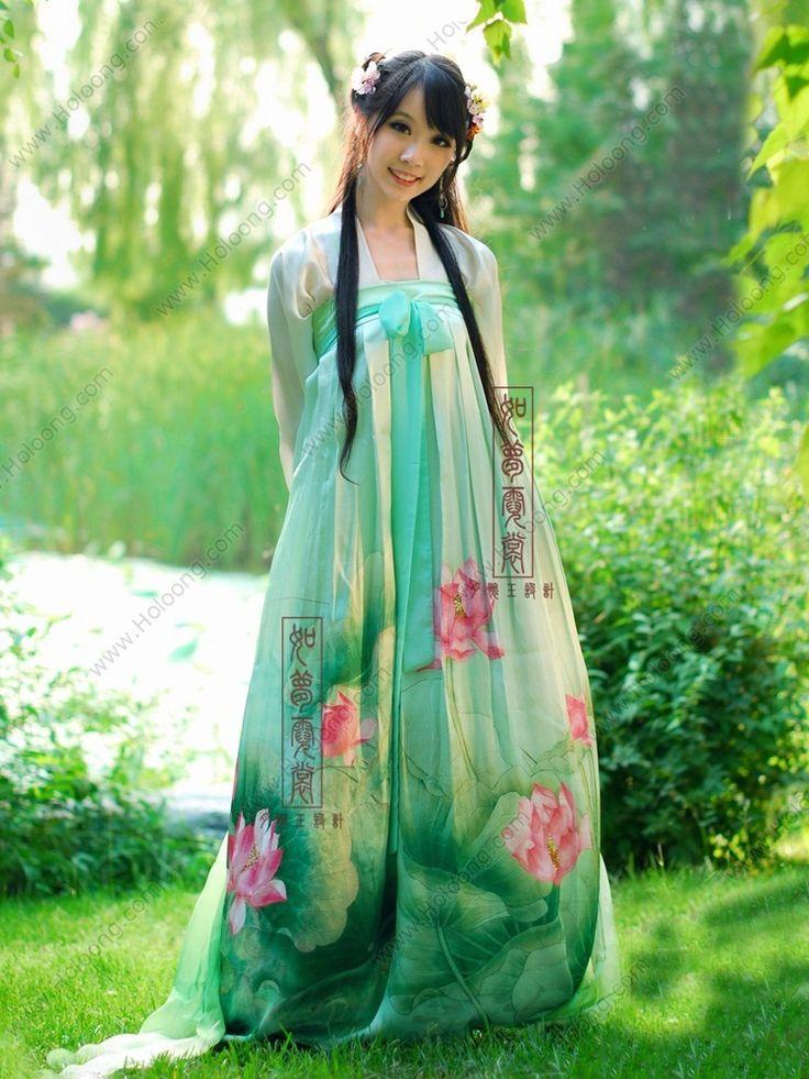 Women's Mulberry silk Green Skirt Ruqun Chest dress Tang Dynasty Hanfu Clothing - USD $ 456.00
