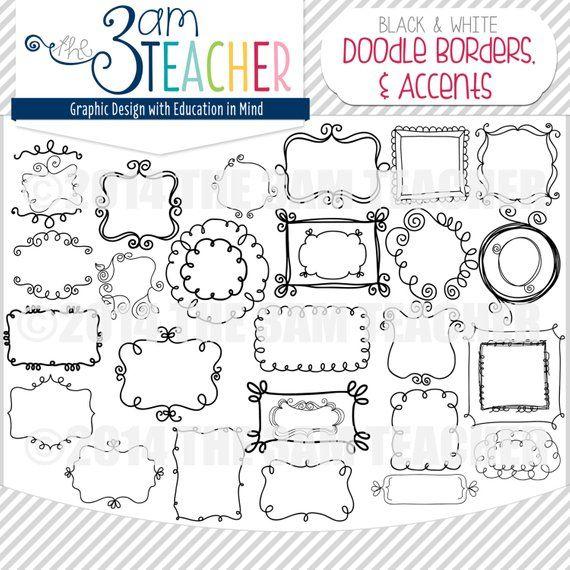Sweet Doodle Frames Borders Accents Mega Pack In 2021 Doodle Frames Doodle Frame Doodle Borders