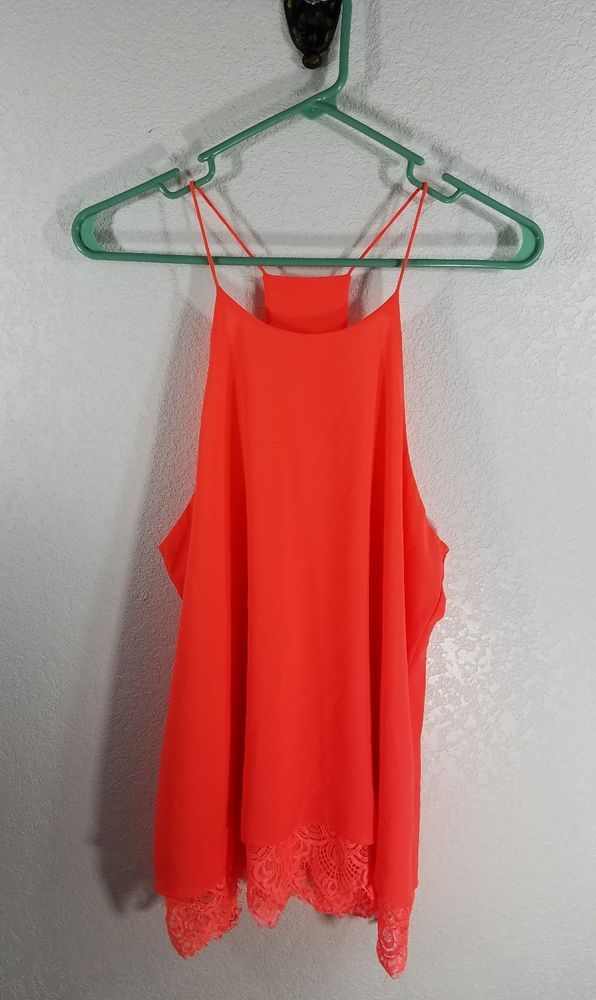SWEET JOURNEY WOMEN'S STRING TANK SIZE: LARGE COLOR: NEON ORANGE WILL LOOK SUPER CUTE ON A TAN BODY! ***FLAW*** THERE IS A DARK SPOT ON THE STRING STRAP SEE PICTURE!! MIGHT BE A PEN/PENCIL MARK CAN USUALLY SHIP SAME DAY IF PAID FOR BY NOON, CENTRAL TIME. CAN COMBINE SHIPPING ON MULTIPLE ITEMS, JUST SEND ME A MESSAGE BEFORE PAYING FOR YOUR ITEMS SO I CAN SEND YOU A CORRECTED INV...