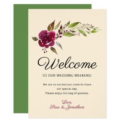 Burgundy Marsala Floral | Wedding Welcome Card - marsala style cyo unique custom