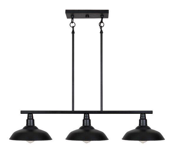 Brummett 3 Light Kitchen Island Linear Pendant In 2020 Kitchen Lighting Industrial Dining Table Outdoor Wall Lighting