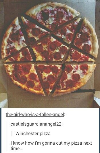 Winchester pizza | Supernatural fandom - is this what Jensen meant by #PepperoniDreaming? - lol