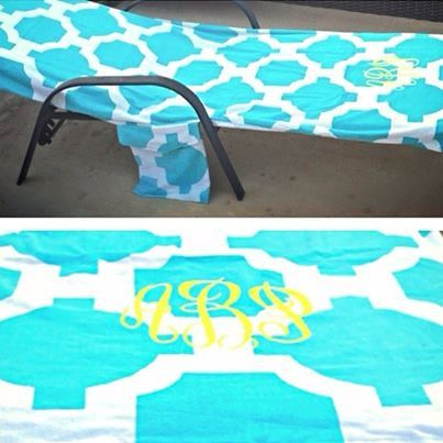 beach or pool lounge chair towel monogram side pocket for necessities sleeve at