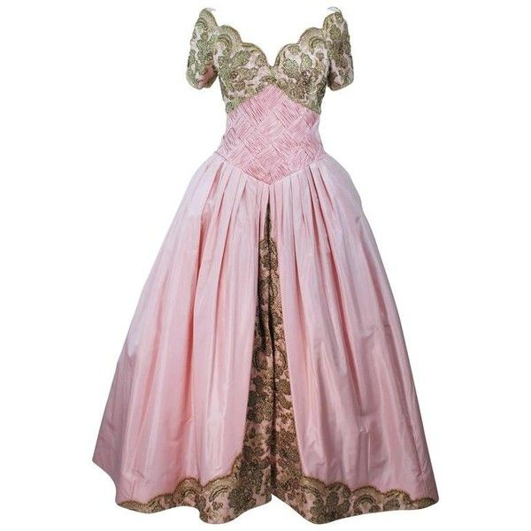 Preowned Vera Wang 1980's Embellished Pink Silk Ball Gown With Gold... ($3,295) ❤ liked on Polyvore featuring dresses, gowns, pink, silk gown, gold evening dresses, lace gown, pink gown and gold dress