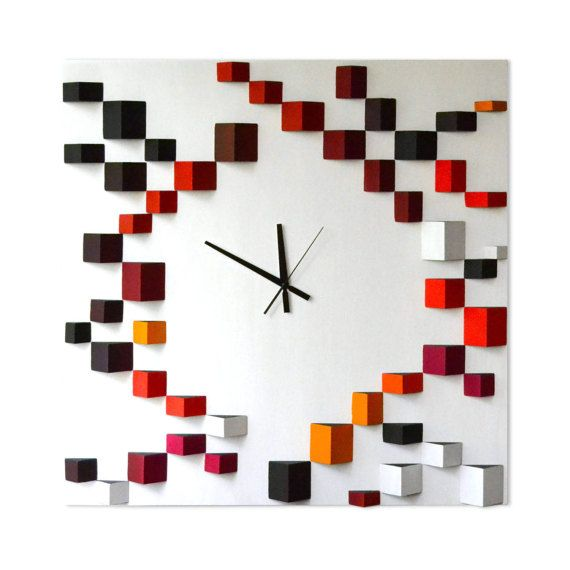 Deco Angle Red | Liliana Stoica tridimensional wood wall clock To work with a material as wood, to give it geometrical shapes, its like telling a story. A story without words, which starts from pure passion for volumes and colors. Perfectly integrated and portioned, this three elements