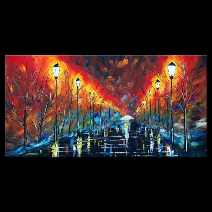 Schilderijen Schilderij Wandelen in de regen Kunst