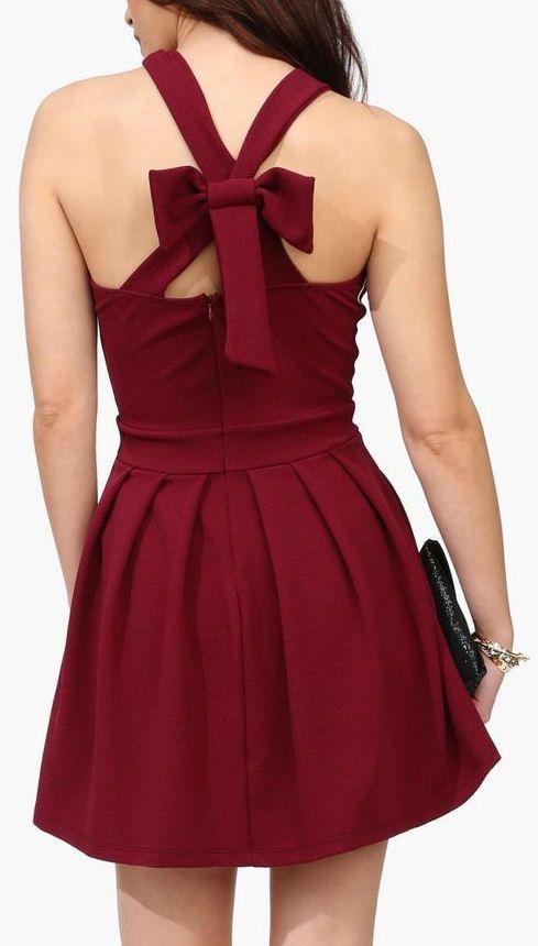 Burgundy Back Bow Dress <3