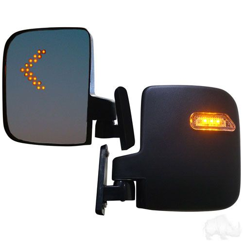 Universal Golf Cart LED Side Mirror Set with Wiring