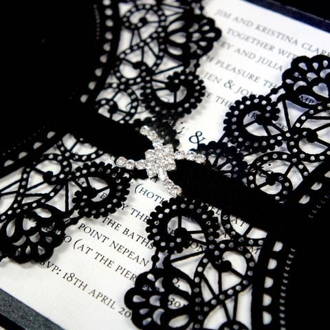Black Lace Laser Cut Cover with Ribbon & Silver Buckle. Elegant Wedding Invitation Quote available through website - Australian Made.