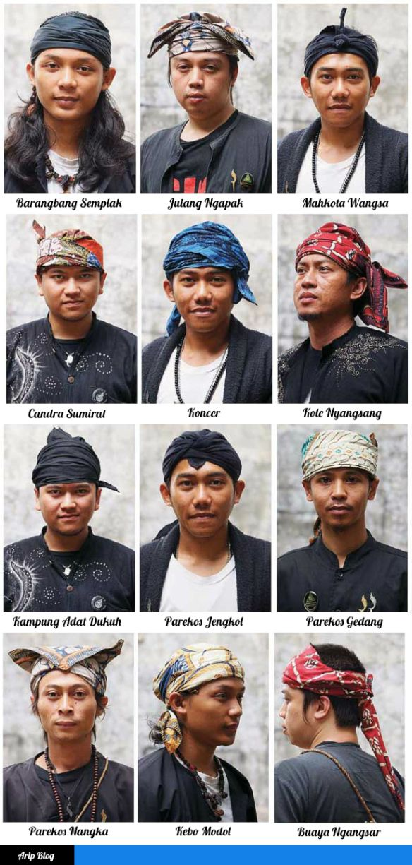 Various Sundanese head band traditional costume.