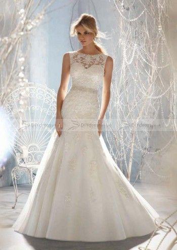 A-line Bateau Sleeveless Beaded Waistband Backless Chapel Trailing Bridal Gowns (10101560)