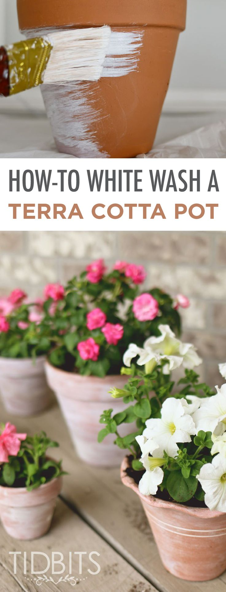 Blogger Tidbits shows you how-to whitewash terracotta pots for a simple and easy, yet effective, front porch makeover. The best part about this DIY project idea is that it uses supplies you already have on hand!
