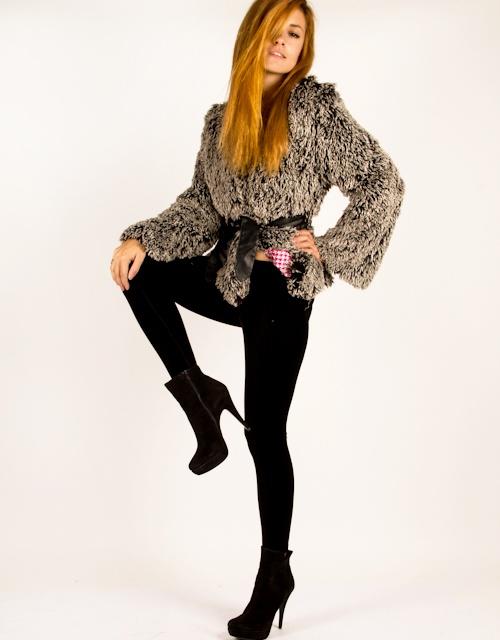 Wow gosh! 69 euros only! Long sleeve fur jacket with belt on the waist. #fashion #womensfashion #furcoat #stylish